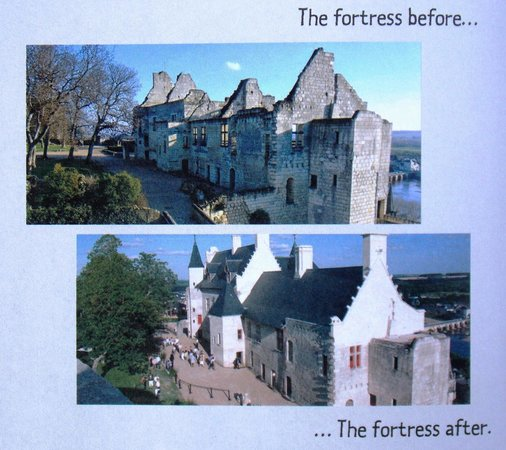 Forteresse royale de Chinon : Chinon Chateau/Fortress : Before and After : page within children's booklet