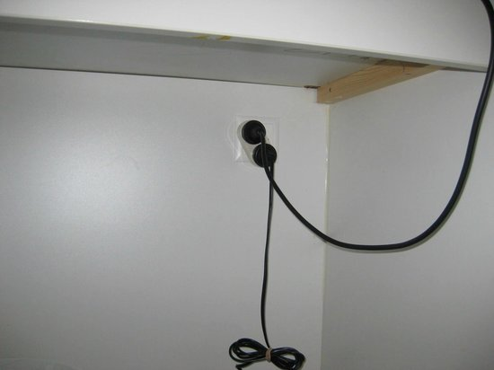 Hotel Astoria: Power points up under desk - reach in over 60cm - down on hands and kness