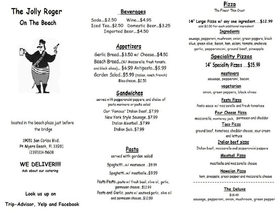 The Jolly Roger On The Beach: menu