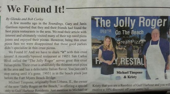 The Jolly Roger On The Beach: write up in the paper