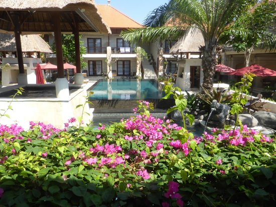 Griya Santrian : Garden area pool and spa