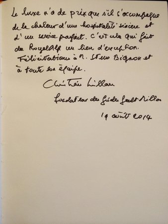 Chalet RoyAlp Hotel & Spa: In the 'Livre d'Or' a very enthousiastic praise and thumbs up from legendary founder of the famo