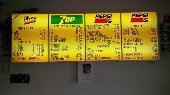 Menu picture of andrews fish chips miramichi for Stellas fish cafe menu
