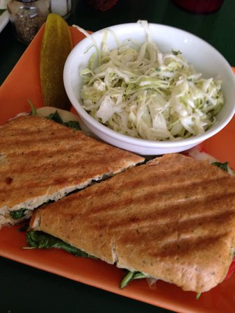 Tortugas Island Grille: Veggie panini: roasted red peppers, pepper jack cheese, caramel used onions, spinach with herb m