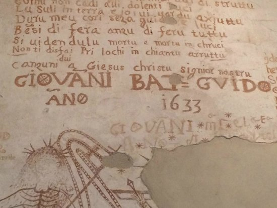 Palazzo Steri - Chiaramonte - Carcere dei penitenziati : scritte sui muri del carcere dell'inquisizione