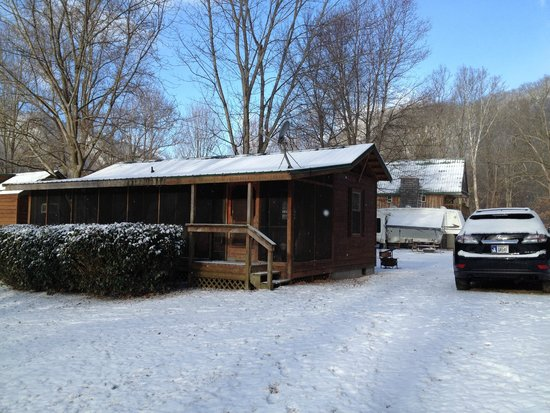 Nolichucky Gorge Campground: This is the cabin we stayed in for our February and April visits.