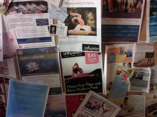 Cafe Mambo : Board with yoga and meditation ads