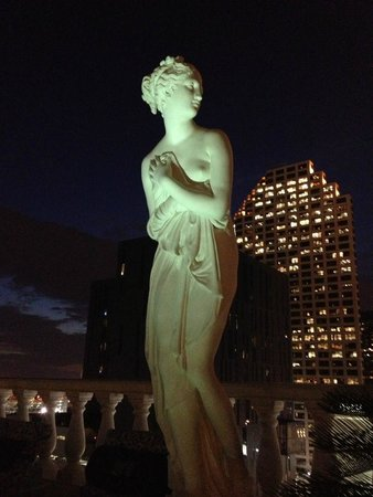 Le Pavillon Hotel: Classical scuptures surround the roof-top pool