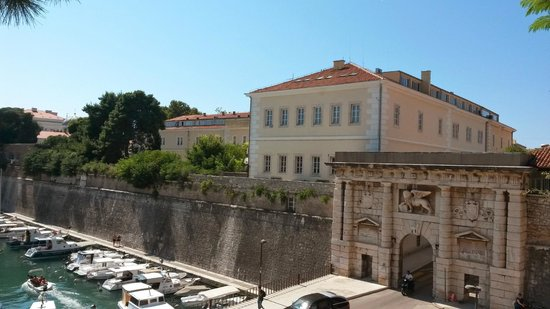 Zadar City Gate: View from the park across