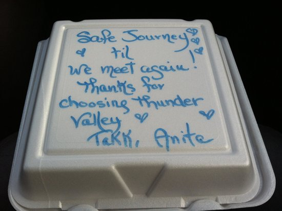 Thunder Valley Inn: Anita is do kind to send us off with treats!!