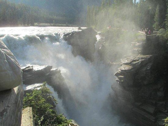 """Athabasca Falls: Dramatic spray of """"new"""" falls"""
