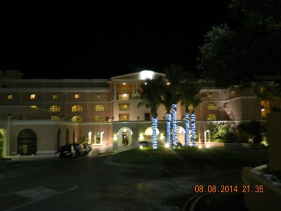The Westin Dragonara Resort, Malta: the front of hotel at nighttime