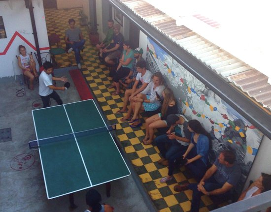 Base Camp Hostel: Big Pre-trip volcano climb meeting with Ping Pong competition.