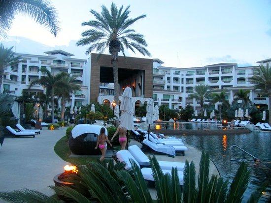 Cabo Azul Resort: At dusk. I love the tiki torches at night.
