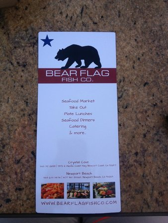 Bear Flag Fish Co.- Crystal Cove: Menu Side 1