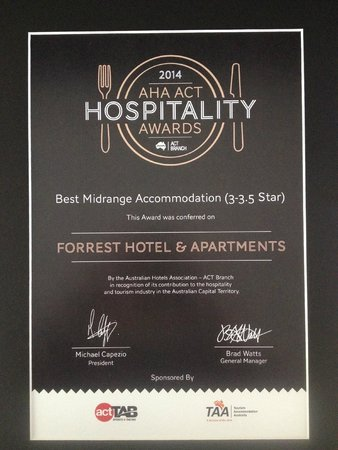 Forrest Hotel And Apartments: Best Mid Range Accomodation in Canberra and the region.