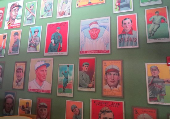 Busch Stadium: Wallpaper featuring old players cards