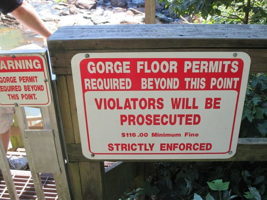 Tallulah Gorge State Park: One of the many warning signs.