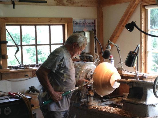 Manchester, VT: Johannes at his lathe