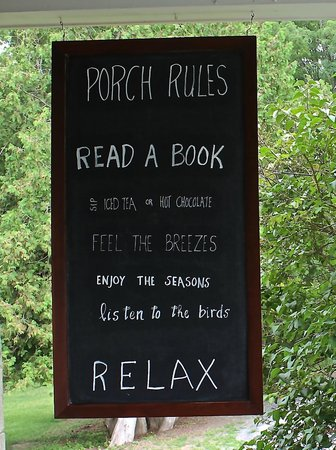 1837 Cobblestone Cottage Bed and Breakfast: porch rules