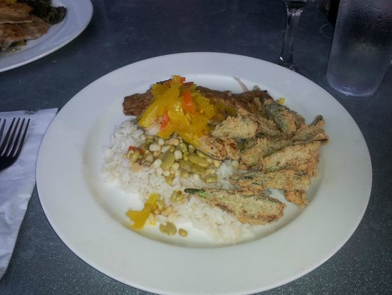 Kool Beanz Cafe: Pecan Crusted Trout with chow chow, rice, beans, fried Okra