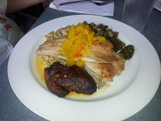 Kool Beanz Cafe: ecan Crusted Trout with chow chow, rice, plantains, Collard greens, mix of beans