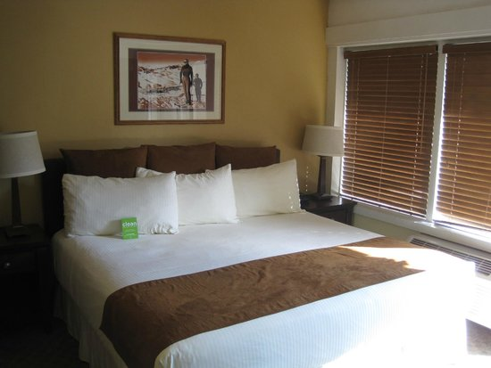 Tamarack Lodge: View of the bed (and at bottom, air conditioner)