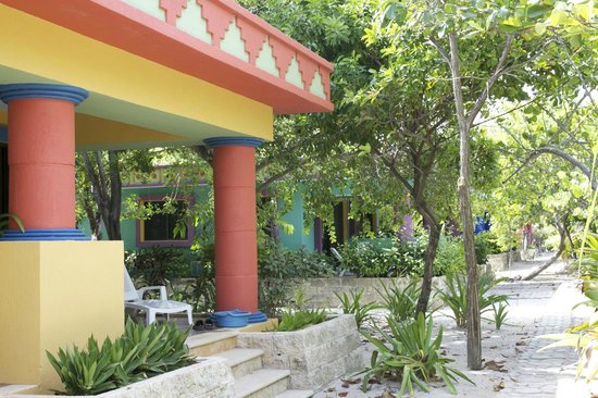 Maya Palms Resort & Dive Center: Outside the individual rooms, a short walk from shore