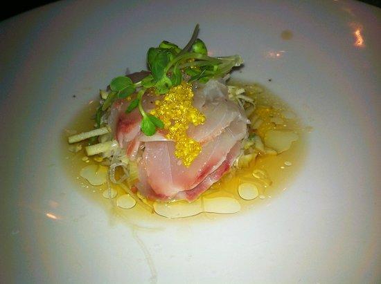 The Fish: Sea Bass Citrus - sea bass sashimi topped with yuzu tobiko, over an apple slaw
