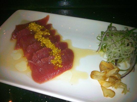 The Fish: Truffle Tuna - topped with yuzu lemon sauce and truffle oil, yuzu infused golden tobiko