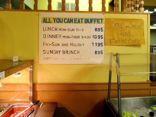 Totem Restaurant in Lillooet, BC - Buffet prices as of August 2014