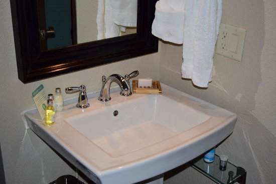 The Coho Oceanfront Lodge: Sink with no room for toiletries