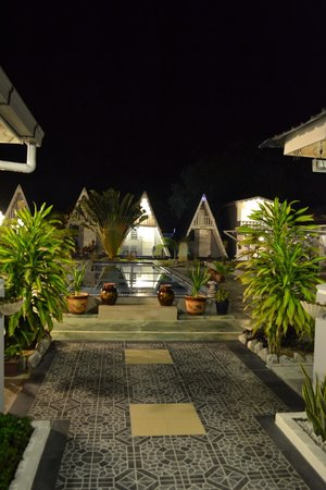 Nipah Guesthouse at night.