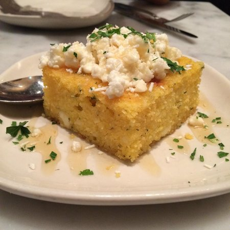 The Purple Pig : Cornbread topped with feta