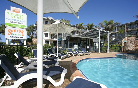 The Beach Retreat Coolum: Reception and Heated Pool