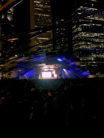 Jay Pritzker Pavilion: The Pritzker Pavillion from the back after dark at symphony orchestra concert