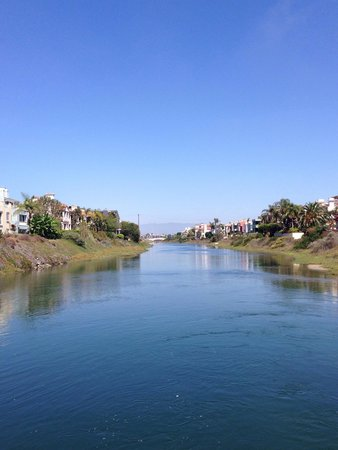 Ballona Creek: Standing on the walking deck looking out with bike paths on either side