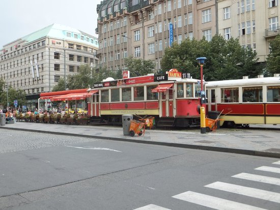 Wenceslas Square: A tram cafe in the centre of square