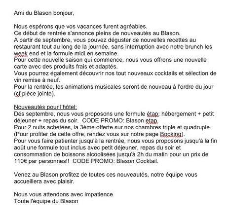 Hotel Le Blason : Nouveautés Blason