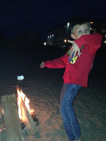 Best Western Plus Ocean View Resort: my grandson at our fire