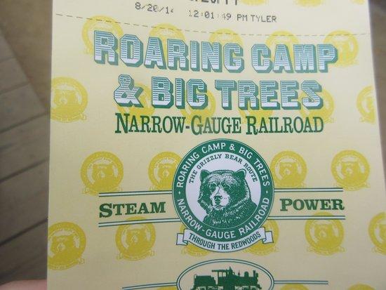 Roaring Camp & Big Trees Narrow-Gauge Railroad: Ticket  Roaring Camp Narrow Gauge Railroad Ride Ticket, Felton, Ca