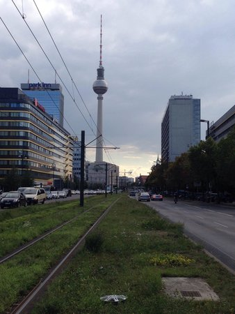 Soho House Berlin: View down the road away form the hotel towards Alexander Platz
