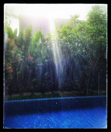 Two Villas Holiday Oriental Style Naiharn Beach : Two Villas Onyx Style - The pool at C1, raining.