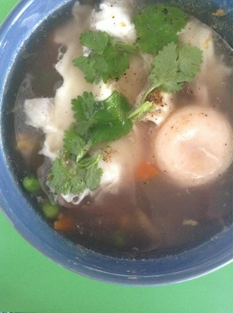 Homestyle Hua Hin : Thai rice soup with veggies and an egg. Quality food in Hua Hin, no MSG