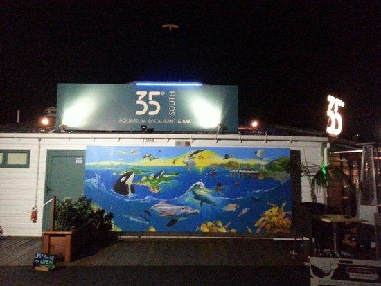 35 Degrees South Aquarium Restaurant & Bar: The funky exterior belies the charming interior