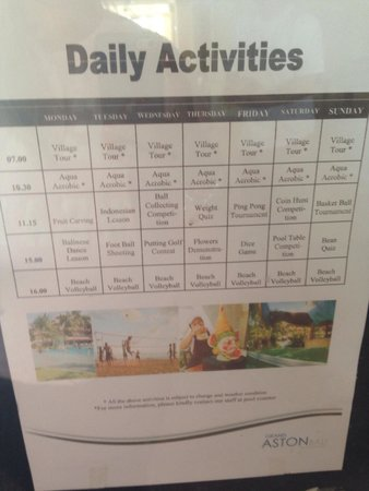 Grand Aston Bali Beach Resort: Daily activities at the Grand Aston - August 2014