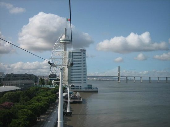 Parque das Nacoes: Cable car with hotel and Vasco da Gama tower