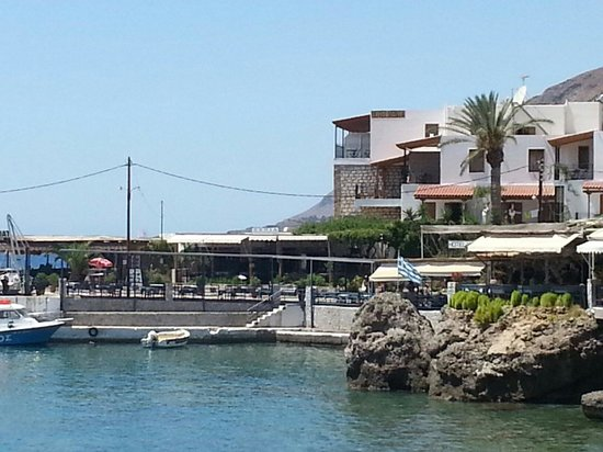 Xenia hotel from across the tiny harbour