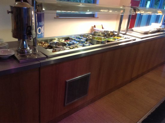 Travelodge Heathrow Terminal 5: Breakfast buffet included cereal, bread, croissant, yogurt.  Hot foods of bacon, sausage, scramb