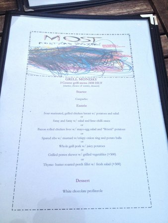 Most Bistro: Monday menu